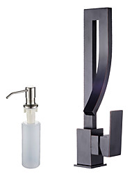 cheap -Art Deco / Retro Tall/High Arc Centerset Widespread Ceramic Valve Single Handle One Hole Oil-rubbed Bronze , Kitchen faucet
