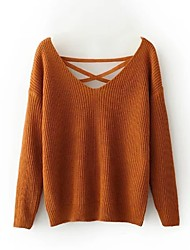 preiswerte -Damen Langarm Fledermaus Ärmel Pullover-Solide,Rückenfrei V-Ausschnitt