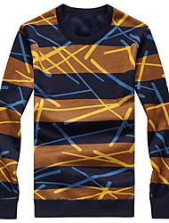cheap -Men's Plus Size Boho Hoodie & Sweatshirt - Color Block Round Neck