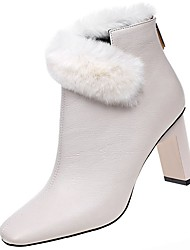 Women's Shoes PU Winter Fall Comfort Fashion Boots Boots High Heel Pointed Toe For Casual Beige Black