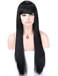 cheap -Women Synthetic Wig Lace Front Long Straight Dark Black With Baby Hair Party Wig Cosplay Wig Natural Wigs Costume Wig