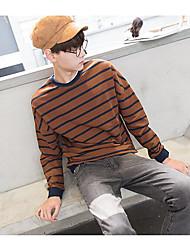 Herrer Afslappet/Hverdag I-byen-tøj Sweatshirt Farveblok Rund hals Polyester Mikroelastisk Langærmet Efterår Forår