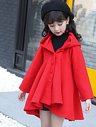 cheap -Girls' Solid Jacket & Coat Blue Brown Red