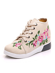 cheap -Women's Shoes Canvas Spring Fall Comfort Novelty Sneakers Pointed Toe Applique Lace-up For Outdoor Party & Evening Beige