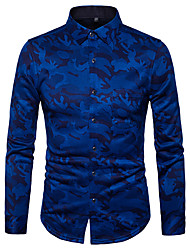 cheap -Men's Daily Street chic Shirt,Print Shirt Collar Long Sleeves Polyester