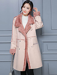 cheap -Women's Going out Street chic Winter Coat,Solid Peaked Lapel Long Sleeve Regular Polyester