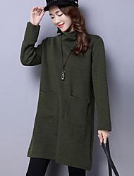 Giacca Da donna Sportivo Casual Vintage Moda città Inverno Primavera/Autunno,Tinta unita A collo alto Cotone Poliestere Manica lunga