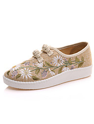 cheap -Women's Shoes Linen Spring / Fall Comfort / Novelty Sneakers Round Toe Lace-up / Flower Yellow / Blue