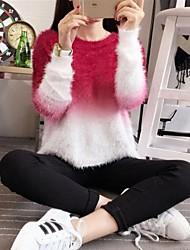 preiswerte -Damen Kunst-Pelz Langarm Pullover-Einfarbig