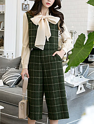 cheap -Women's Daily Going out Vintage Casual Street chic Fall Tank Top Pant Suits,Grid/Plaid Patterns V Neck Sleeveless Wool Rayon Acrylic