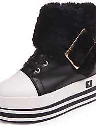 cheap -Women's Shoes PU Winter Fashion Boots Fur Lining Comfort Boots Round Toe Booties/Ankle Boots for Casual White Black Brown