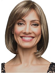 cheap -Women Synthetic Wig Capless Medium Length Straight Light Brown Highlighted/Balayage Hair Bob Haircut Celebrity Wig Natural Wigs Costume