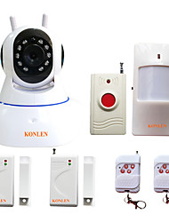 cheap -KONLEN® WIFI Wireless Home Alarm Security System for Burglar Anti theft Intruder Camera Video Recording with 433MHZ Sensors Panic Button