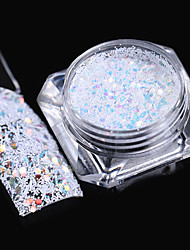 cheap -Hexagon Snowflake Nail Sequins 1.5g Colorful Stripe White Glitter Paillette Flakies Manicure Nail Art Decoration
