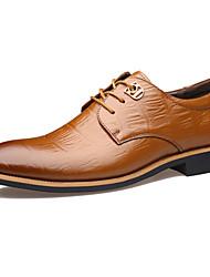preiswerte -Herren Schuhe Echtes Leder Alle Jahreszeiten Komfort Neuheit formale Schuhe Outdoor Niete Für Hochzeit Party & Festivität Schwarz Gelb