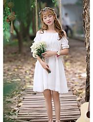 cheap -Women's Daily Going out Sheath Dress,Solid Strap Knee-length Sleeveless Silk Cotton Medium Waist Inelastic Sheer Medium