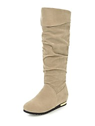 cheap -Women's Shoes Leatherette Winter Fall Slouch Boots Boots Round Toe Knee High Boots Buckle for Casual Dress Black Beige Gray Brown