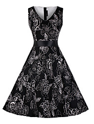 Women's Daily Going out Swing Dress,Floral Print V Neck Maxi Knee-length Sleeveless Polyester Fall High Waist Inelastic Opaque