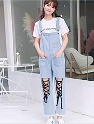 economico -Da donna A vita alta Casual Anelastico Jeans Tuta da lavoro Pantaloni,Tinta unita Autunno