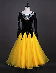 cheap -Shall We Ballroom Dance Dresses Women's Performance Organza Velvet Chiffon Crystals/Rhinestones Long Sleeve Dress