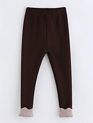 economico -Pantaloni Da ragazza Cotone Collage Inverno Marrone