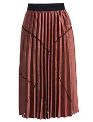 abordables -Mujer Casual Algodón Columpio Faldas A Rayas / Otoño / Invierno