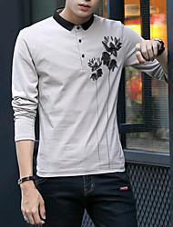 cheap -Men's Daily Street chic T-shirt,Solid Shirt Collar Long Sleeves Cotton Linen