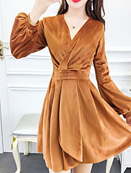 cheap -Women's Daily Cute A Line Dress,Solid V Neck Asymmetrical Long Sleeve Polyester Spring Fall Mid Rise Inelastic Opaque