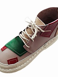 Dámské Boty Kůže nubuck Zima Pohodlné Tenisky Rovná podrážka Kulatý palec Pro Červená Zelená