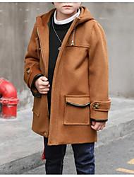 cheap -Boys' Solid Trench Coat Long Sleeves Gray Khaki