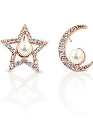 economico -Per donna Orecchini a bottone Zircone cubico Perle finte Mancata corrispondenza Dolce Di tendenza Elegant Zirconi MOON Stella Gioielli Per