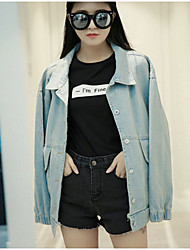 cheap -Women's Daily Going out Simple Casual Fall Denim Jacket,Solid Shirt Collar Long Sleeves Regular Cotton Acrylic