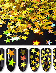 cheap -6 Bottles/Set Five-Pointed Star Nail Art Glitter Sequins 6 Colors Mixed Laser Holographic Nail Glitter Powder Women Nail Decoration Manicure Tools