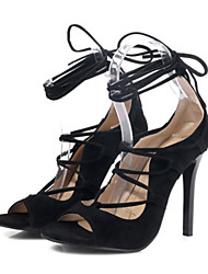 cheap -Women's Shoes Nubuck leather Spring / Summer Comfort / Novelty Sandals Peep Toe Black / Red / Wedding / Party & Evening / Party & Evening