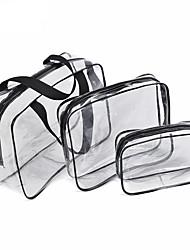 abordables -3pcs sac cosmétique ensemble transparent sac de beauté sacs à main imperméables sacs de lavage dames composent