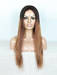Недорогие -Натуральные волосы Полностью ленточные Парик Бразильские волосы Прямой С пушком 130% плотность 100% девственница Природные волосы