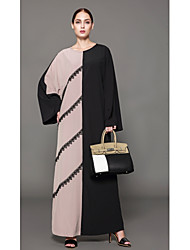 cheap -Women's Boho Shift Dress - Solid Colored Color Block, Lace Low Rise Maxi