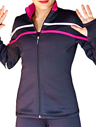 cheap -Figure Skating Fleece Jacket Women's Girls' Ice Skating Jacket Tracksuit Purple Sky Blue Red Spandex Stretchy Practise Skating Wear Stripe