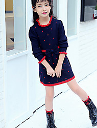 cheap -Girl's Daily Going out Polka Dot Dress,Cotton Fall Long Sleeves Casual Red Navy Blue