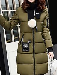 Dámské S vycpávkou Jednoduchý Jdeme ven Jednobarevné-Kabát Polyester Dlouhý rukáv