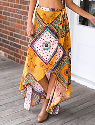 cheap -Women's Cute Swing Skirts - Geometric Color Block