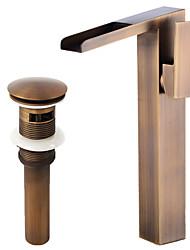 abordables -Décoration artistique/Rétro Set de centre Jet pluie with  Soupape céramique Mitigeur un trou for  Cuivre antique , Robinet lavabo