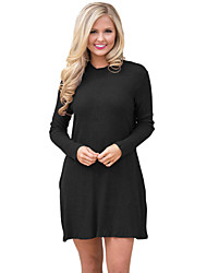 cheap -Women's Daily Casual Sweater Dress,Solid Round Neck Above Knee Long Sleeve Polyester Elastane Winter High Waist strenchy Thick