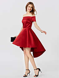 cheap -A-Line / Princess Off Shoulder Asymmetrical Satin Prom Dress with Pleats by TS Couture®