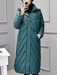 economico -Lungo Imbottito Da donna,Cappotto Semplice Casual Tinta unita Cotone Maniche lunghe