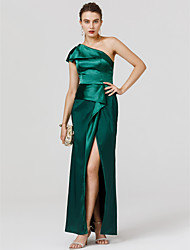 cheap -Sheath / Column One Shoulder Floor Length Satin Cocktail Party / Formal Evening / Black Tie Gala / Holiday Dress with Split Front by TS