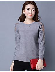economico -Standard Pullover Da donna-Casual Tinta unita Girocollo Manica lunga Cotone Medio spessore Media elasticità