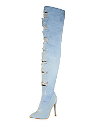 cheap -Women's Shoes Denim Spring Fall Fashion Boots Slouch Boots Boots Pointed Toe Thigh-high Boots For Casual Dress Light Blue