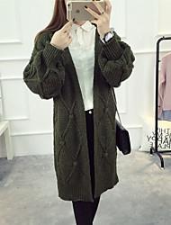 Dámské Denní nošení Standardní Kardigan Jednobarevné,Dlouhý rukáv Do V Bavlna Zima Podzim Neprůhledné Lehce elastické