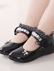 Girls' Shoes PU Spring Fall Flower Girl Shoes Flats for Casual White Black Peach Pink